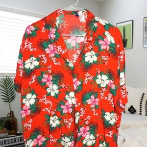 Hawaiian floral oversized shirt